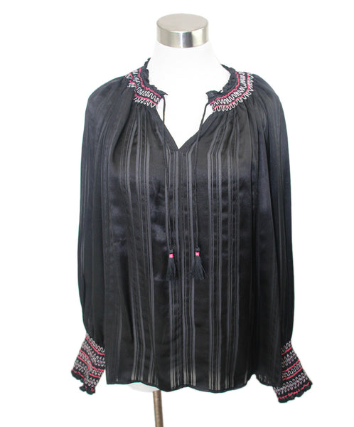 Johnny Was Black Silk Pink Trim Top 1
