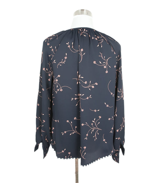 Joie Black with Peach Floral Detail Peasant Top 3