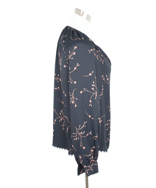Joie Black with Peach Floral Detail Peasant Top 2