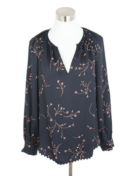 Joie Black with Peach Floral Detail Peasant Top 1