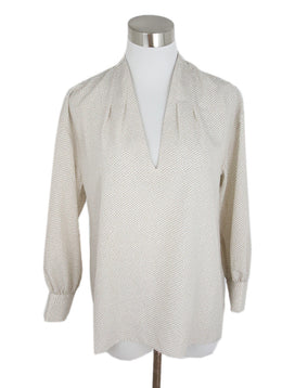 Joie White Tan Polyester Print Top 1