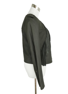 Joie Grey Leather Fringe Jacket 2