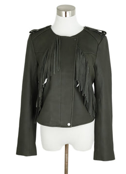 Joie Grey Leather Fringe Jacket 1