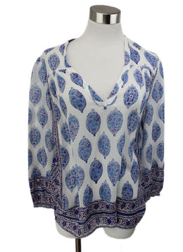 Joie White Blouse with Blue and Purple Print 1