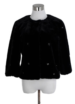 Joie Black Faux Fur Rhinestones Jacket 1
