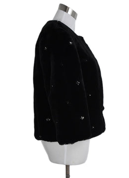 Joie Black Faux Fur Rhinestones Jacket 2
