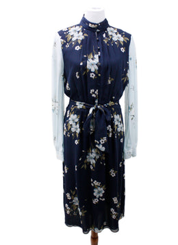 Joie Blue Floral Silk Dress