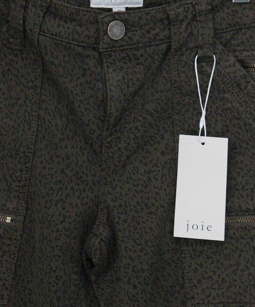Joie Size 2 Green Olive Black Leopard Cotton Pants