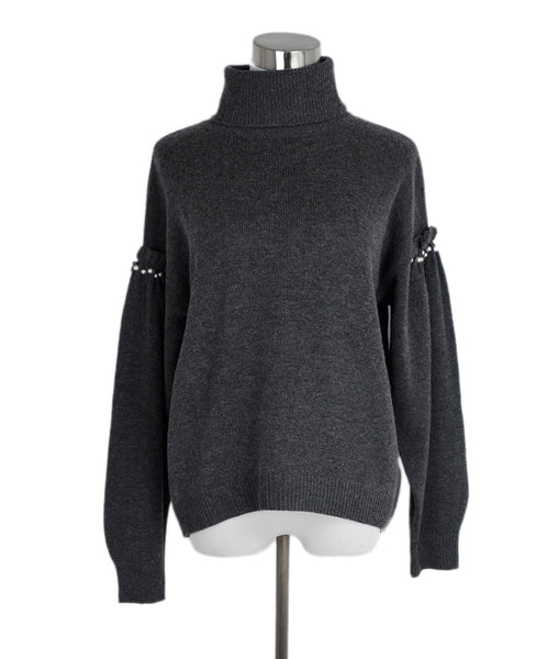 Joie Grey Wool Viscose Pearl Trim Sweater 1