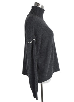 Joie Grey Wool Viscose Pearl Trim Sweater 2