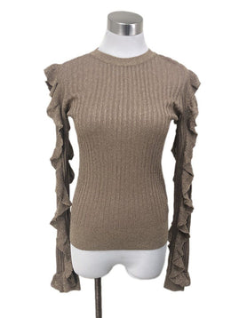 Joie Metallic Gold Ruffle Sleeve Sweater sz 2