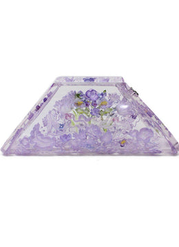 Joyce Frances Purple Lilac Floral Lucite Carved Clutch