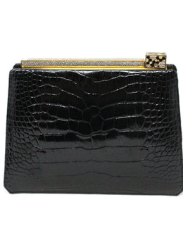 Judith Leiber Black Alligator Leather with Swarovski Cyrstal Top Handle Clutch 3
