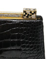 Judith Leiber Black Alligator Leather with Swarovski Cyrstal Top Handle Clutch 12