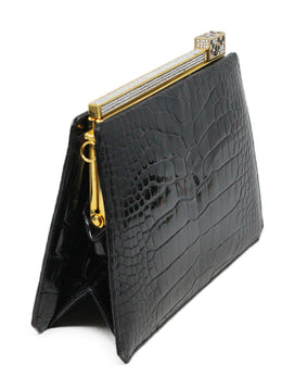 Judith Leiber Black Alligator Leather with Swarovski Cyrstal Top Handle Clutch 2
