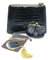 Judith Leiber Black Alligator Leather with Swarovski Cyrstal Top Handle Clutch 7