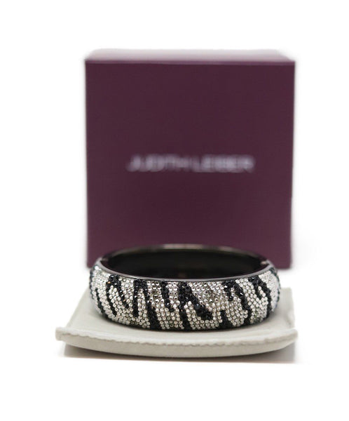 Bracelet Judith Leiber Black Clear Crystal W/Box Jewelry