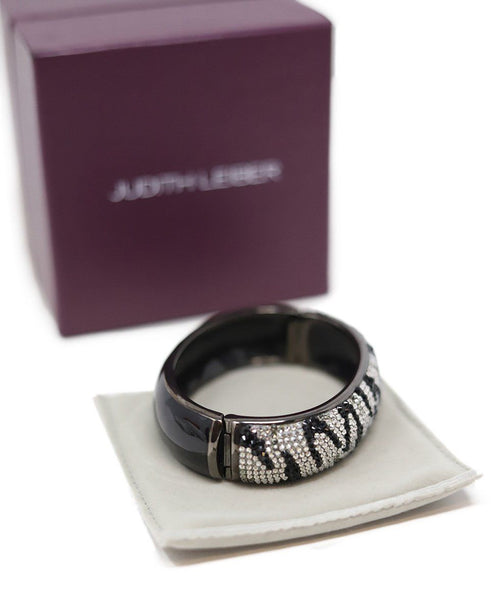 Bracelet Judith Leiber Black Clear Crystal W/Box Jewelry 1