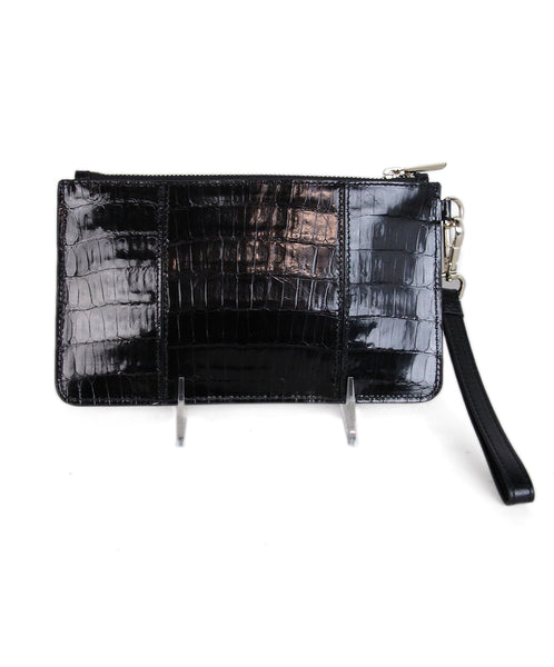 Judith Leiber Black Pressed Leather Wristlet 1