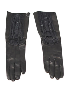 Judith Leiber Black Leather Snake Skin Crystals Gloves