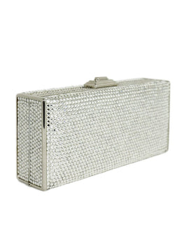 Judith Leiber Clear Rhinestone Rectangle Clutch Handbag 2