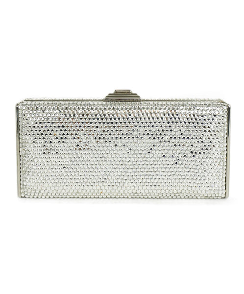 Judith Leiber Clear Rhinestone Rectangle Clutch Handbag 1