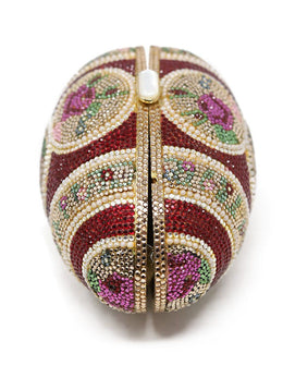 Judith Leiber Red and Gold Swarovski Crystal Egg Clutch