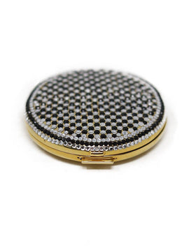 Judith Leiber Metallic Gold Crystals Compact Mirror