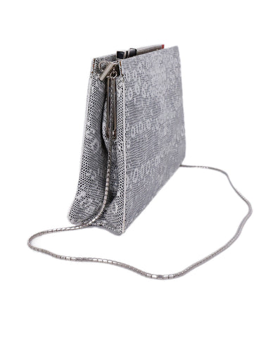 Judith Leiber Neutral Grey Metallic Lizard Clutch Handbag 1