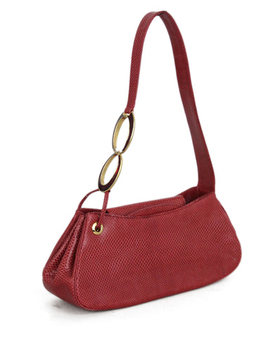 Judith Leiber Red Lizard Handbag 1