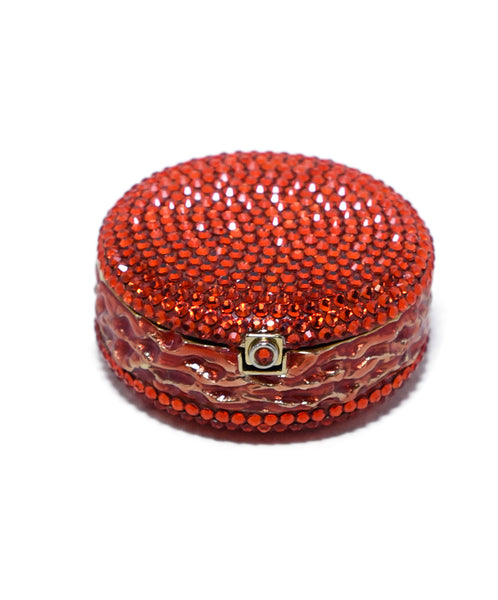 Judith Leiber Red Crystal Enamel Gold Plated Macaroon Pill Case 1