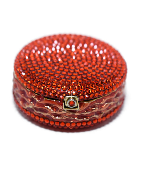 Judith Leiber Red Crystal Enamel Gold Plated Macaroon Pill Case 2