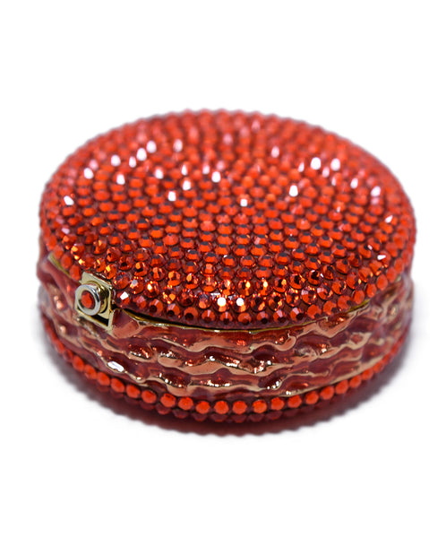 Judith Leiber Red Crystal Enamel Gold Plated Macaroon Pill Case 3