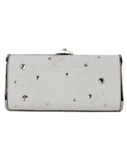 Judith Leiber White Crystal Silver Trim Bag w/ Chain - Michael's Consignment NYC  - 1