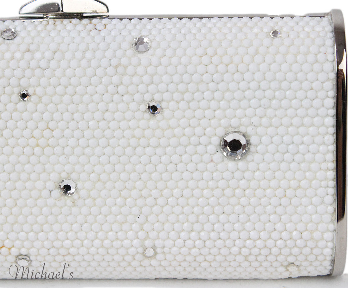 Judith Leiber White Crystal Silver Trim Bag w/ Chain - Michael's Consignment NYC  - 9