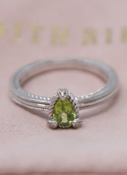Ring Judith Ripka Metallic Silver Sterling Silver Green Peridot Jewelry 1