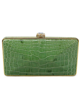 Judith Leiber Green Alligator Rhinestone Clutch