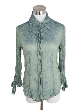 Justcavalli Green Celedon Polyester Irridecent Top 1