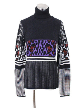 Justcavalli Black Purple White Wool Sweater