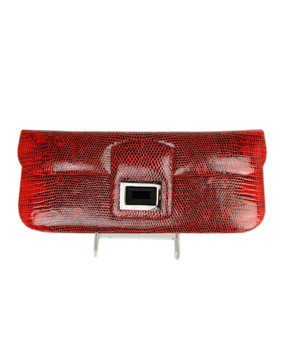 Kara Ross Red Black Lizard Clutch Handbag 1
