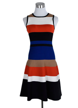 Karen Millen Blue Red Black Viscose Dress 1