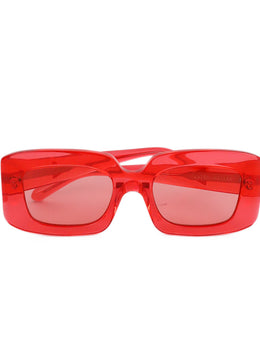 Karen Walker Red Plastic Rectangle Sunglasses 1