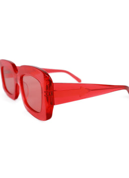 Karen Walker Red Plastic Rectangle Sunglasses 2