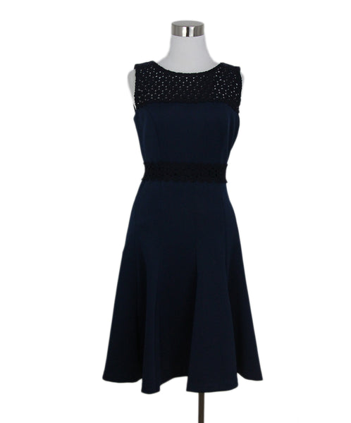 Karl Lagerfeld blue navy lace trim dress 1