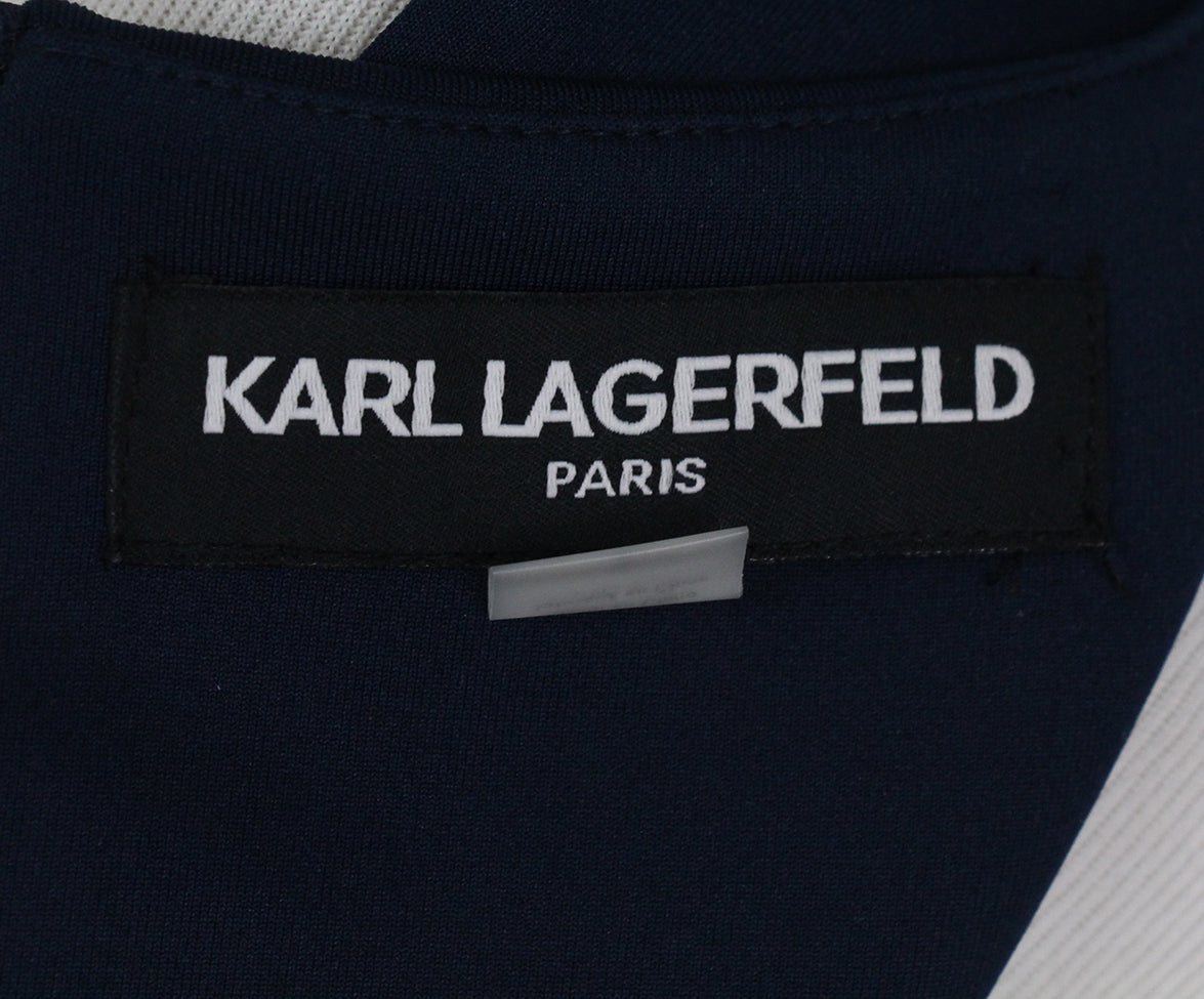 Karl Lagerfeld blue navy lace trim dress 4