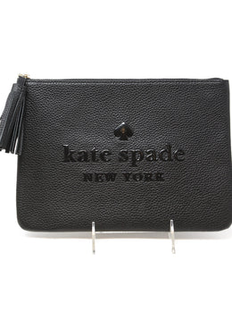 Kate Spade Black Leather Tassel Cosmetic Case 1
