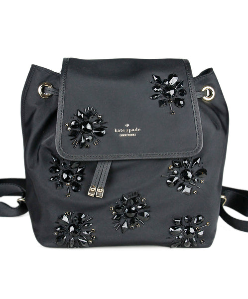 Kate Spade Black Nylon Rhinestone Backpack