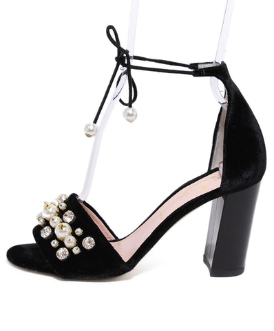 Kate Spade Black Velvet Pearl Sandals 1