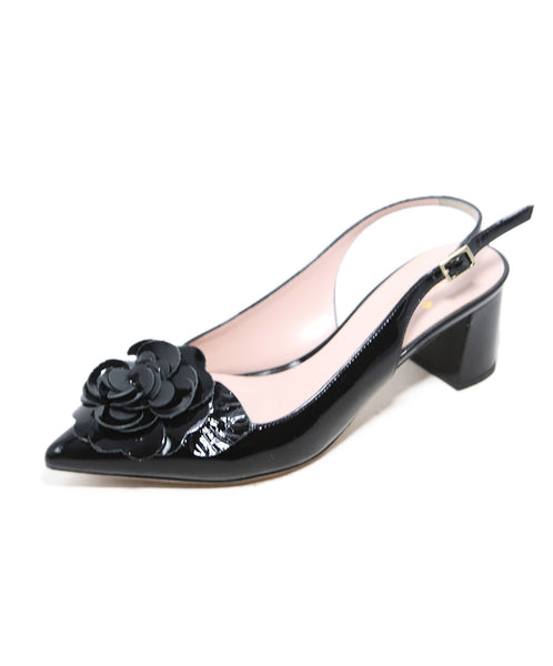 Kate Spade Black Patent Leather Heels with Flower Applique 2
