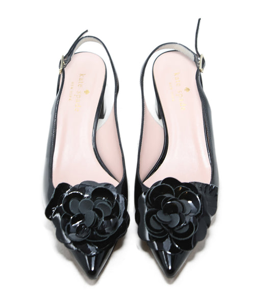 Kate Spade Black Patent Leather Heels with Flower Applique 4